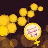 Gele Bloemen van Mimosa met het Symbool van Vrouwen in een Tak, Vectorillustratie Stock Fotografie