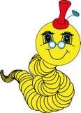 Gele boekenwurm met een vriendschappelijke glimlach Royalty-vrije Stock Afbeelding