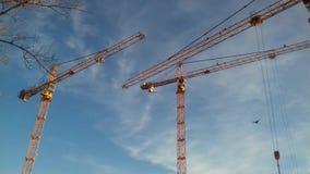 Gele bouwkraan op blauwe hemel stock videobeelden