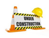 Gele bouwvakker bij de oranje verkeersbouw Stock Fotografie