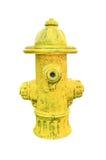 Gele brandkraan die op wit wordt geïsoleerde stock afbeelding