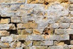 Gele bruine industriële bakstenen muur Royalty-vrije Stock Fotografie