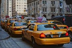 Gele Cabines in NYC Stock Afbeeldingen