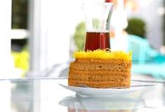 Gele cake Stock Afbeeldingen