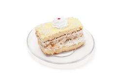 Gele cake op plaat Stock Foto