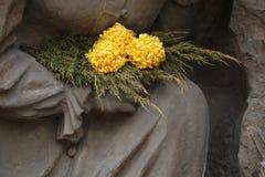 Gele chrysant bij de begraafplaats in Jaromer, Tsjechische Republiek stock afbeeldingen
