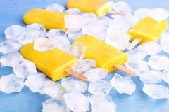 Gele citrusvruchtenijslollys op ijs Royalty-vrije Stock Foto