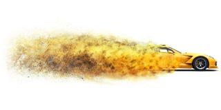 Gele conceptensportwagen die zo snel gaan dat het in stof desintegreert stock fotografie