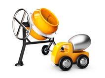 Gele concrete mixer en mixervrachtwagen, geïsoleerde witte, 3d Illustratie Stock Foto's