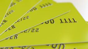 Gele creditcards, het 3D teruggeven Stock Afbeelding