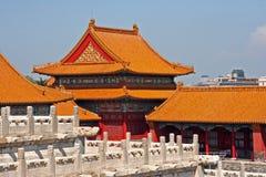 Gele daken van de Verboden Stad in Peking, China Stock Foto's