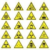 Gele de Driehoekstekens van het waarschuwingsgevaar Geplaatst die op Wit worden geïsoleerd stock illustratie