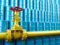 Gele de lijnkleppen van de gaspijp en blauwe olievaten Brandstof en energ Stock Afbeeldingen