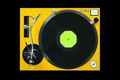 Gele de speler speelmuziek van DJ met donkere achtergrond Royalty-vrije Stock Fotografie