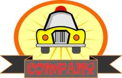 Gele de taxiauto van het voorraadembleem Stock Fotografie