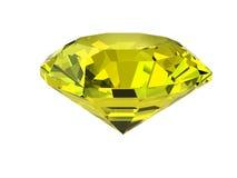 Gele diamant die op wit wordt geïsoleerde Stock Fotografie