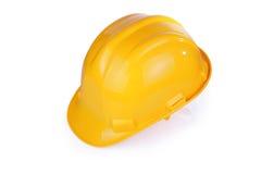 Gele die bouwvakker met het knippen van weg wordt geïsoleerd Stock Afbeelding