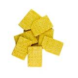 Gele die crackers op wit worden geïsoleerd Royalty-vrije Stock Afbeelding