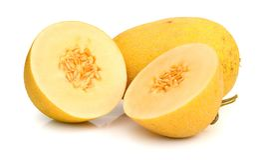 Gele die het eten meloen op witte achtergrond wordt geïsoleerd Royalty-vrije Stock Foto's