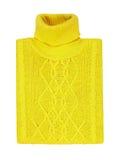 Gele die sweater op een witte achtergrond wordt geïsoleerd Stock Foto