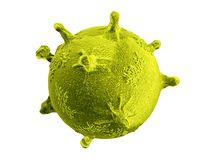 Gele die virus of van de bacteriënmolecule microbe op het witte 3d teruggeven wordt geïsoleerd als achtergrond royalty-vrije illustratie