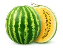 Gele die watermeloen in de helft wordt gesneden Royalty-vrije Stock Foto