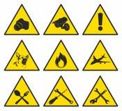 Gele driehoekige tekens Stock Afbeeldingen