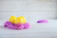 Gele eieren in het nest het concept een gelukkige Pasen en een sprin Royalty-vrije Stock Afbeeldingen