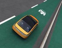 Gele elektrische auto op EV-prioritaire steeg royalty-vrije illustratie