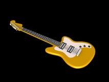 Gele elektrische gitaar die op zwarte wordt geïsoleerdg stock illustratie