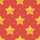 Gele emoji het glimlachen naadloze het patroon rode achtergrond van sterkarakters Stock Foto's