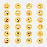 Gele emoticons met beeldverhaaluitdrukkingen stock illustratie