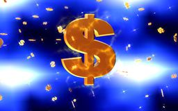 Gele en blauwe dollargevolgen Stock Fotografie