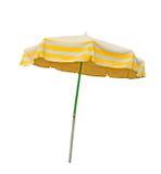 Gele en grijze die strandparaplu op wit wordt geïsoleerd Royalty-vrije Stock Afbeeldingen