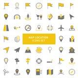 Gele en grijze het pictogramreeks van de kaartplaats stock illustratie