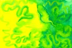 Gele en groene aquarelle Stock Foto's