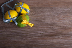 Gele en groene eieren Stock Foto