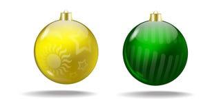 Gele en groene Kerstboomballen Vector royalty-vrije stock foto's