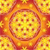 Gele en oranje bloem van het levens naadloos vectorpatroon stock illustratie