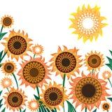 Gele en oranje zonnebloemen Vectorillustratie stock illustratie