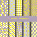 Gele en purpere geometrische patroonreeks Royalty-vrije Stock Afbeelding