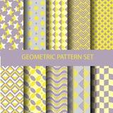 Gele en purpere geometrische patroonreeks royalty-vrije illustratie