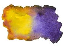 Gele en purpere waterverfvlek Royalty-vrije Stock Afbeelding