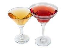 Gele en rode martini royalty-vrije stock afbeeldingen