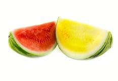 Gele en rode watermeloen royalty-vrije stock foto