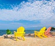 Gele en roze kleurrijke zitkamerstoelen op een strand in Florida Stock Foto's