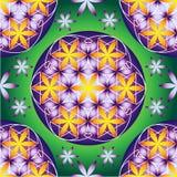 Gele en violette bloem van het levens naadloos patroon stock illustratie