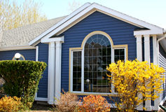 Gele Forsythia & Blauw Huis Stock Foto's