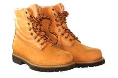 Gele geïsoleerdec laarzen. Stock Foto's
