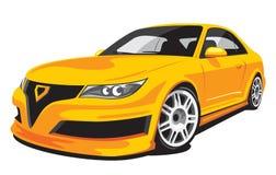 Gele gefingeerde sportwagen Royalty-vrije Stock Afbeeldingen